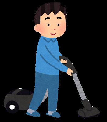 掃除する男性