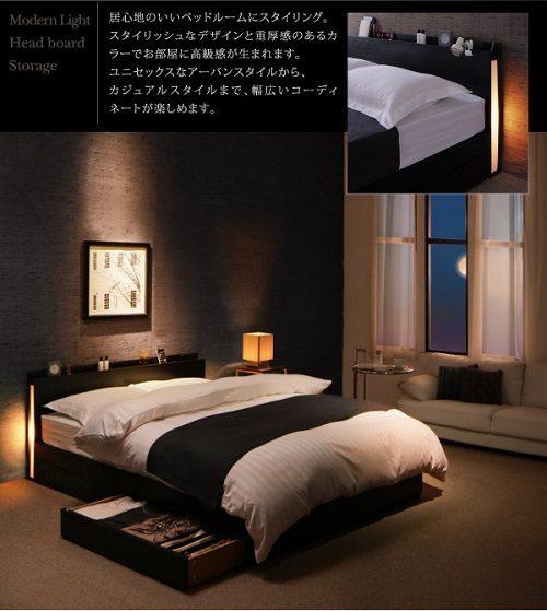 スリムモダンライト付収納ベッド【CozyMoon】コージームーン