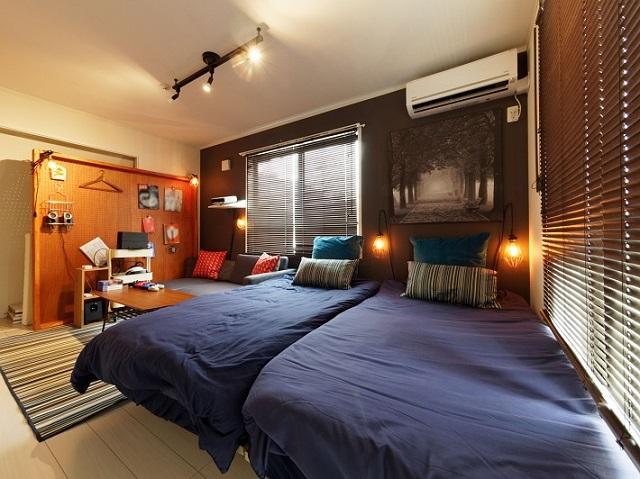 民泊のベッド