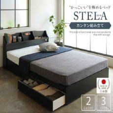 宮付き・照明付き 国産 収納ベッド 『STELA』ステラ
