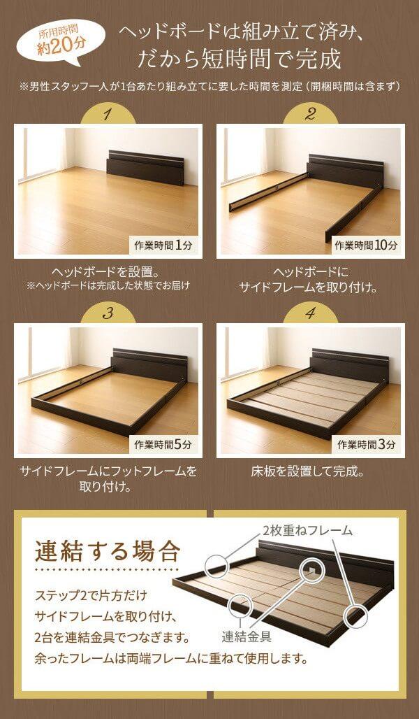 棚・照明付き 国産 フロアベッド 連結ベッド『NOIE』ノイエ組み立て手順