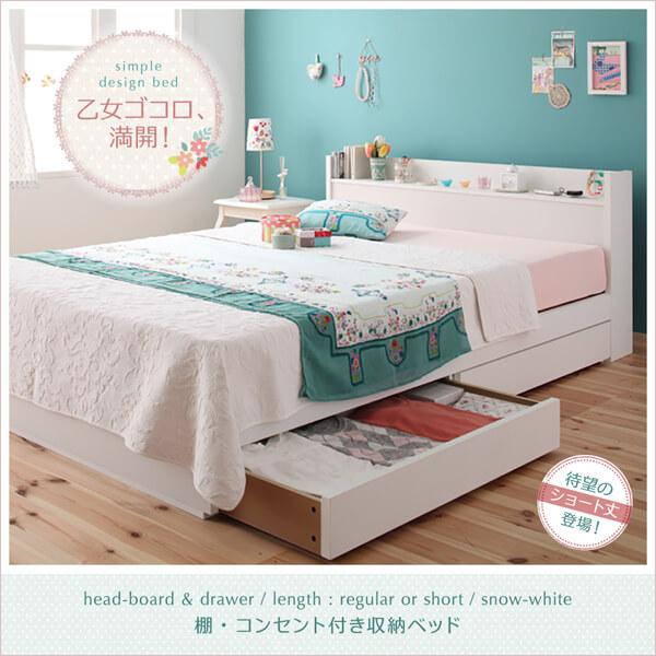 棚・コンセント付き 収納ベッド 【Fleur】フルール