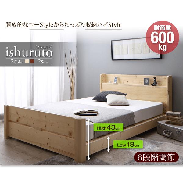 6段階高さ調節頑丈天然木すのこベッド【ishuruto】イシュルト