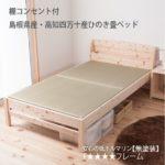 国産!棚付き・2口コンセント付き【無塗装】ひのき 畳ベッド