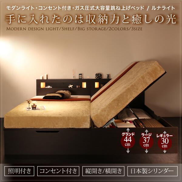 モダンライト付 跳ね上げ収納ベッド【Lunalight】 ルナライト
