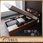 照明・コンセント付・ガス圧式跳ね上げ収納ベッド【Cyrus】サイロス