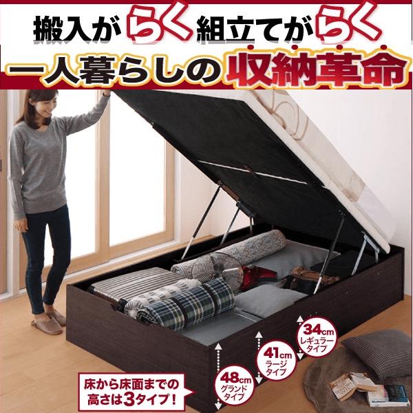 簡単組立!楽々搬入ガス圧跳ね上げ収納ベッド【Mysel】マイセル