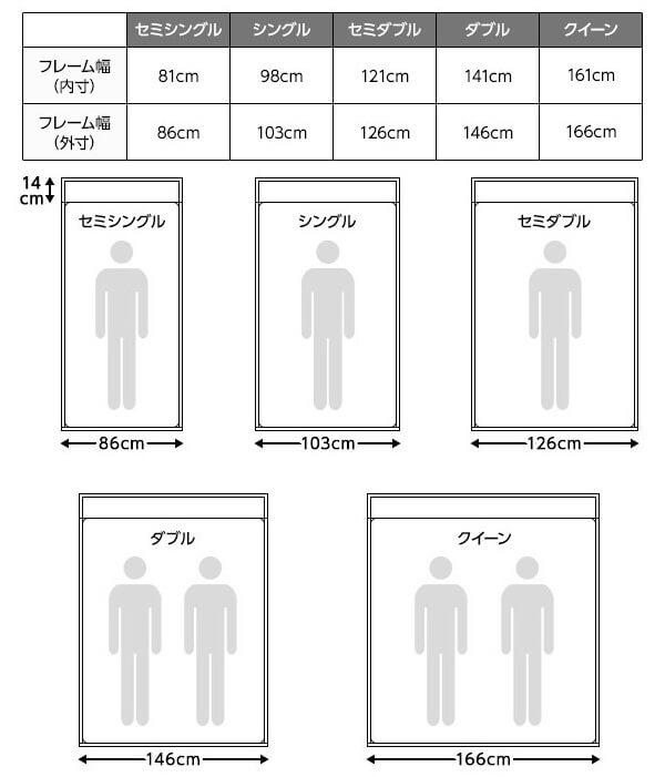 安い!すのこ仕様・棚・2口コンセント付きフロアベッド『ブリーズ』のサイズ表