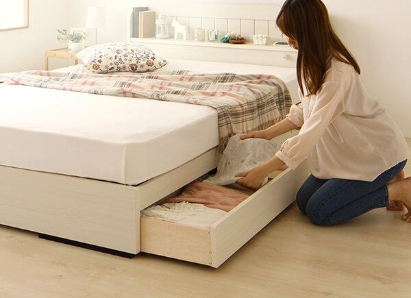 棚・コンセント付 国産カントリー調 姫系収納ベッド『カモミーユ』