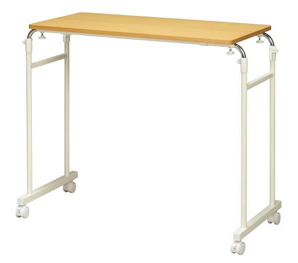 伸縮式ベッドサイドテーブル キャスター付き・幅と高さ調節可能