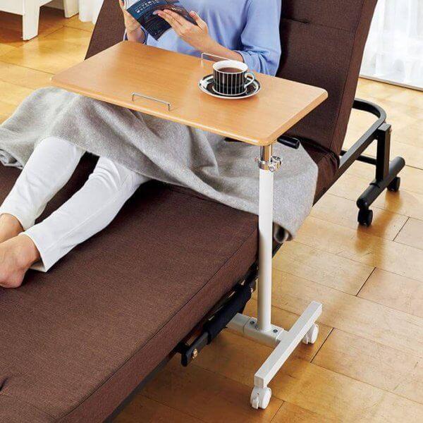 サイドテーブル 幅60cm 9段階の角度調整機能付き