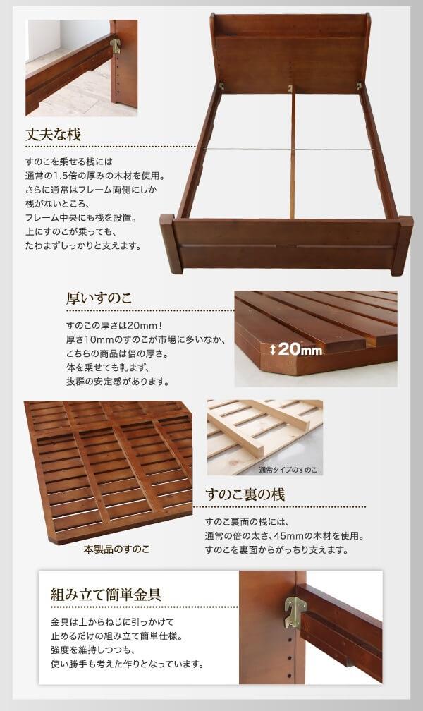 高さ6段階・天然木頑丈すのこベッド【ishuruto】イシュルト