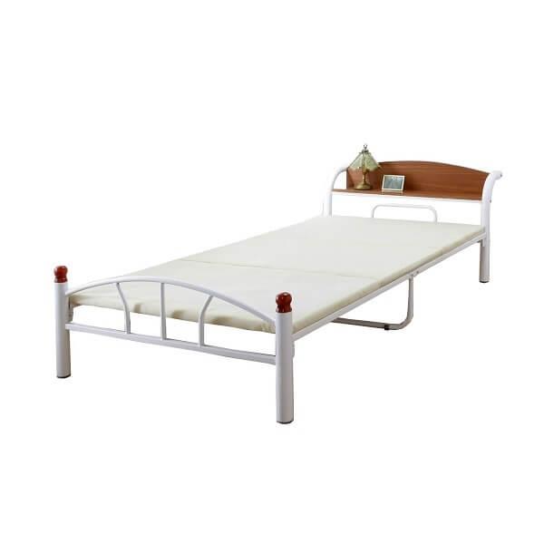 木製の棚付きパイプベッド シングル(引出しなし)ホワイト