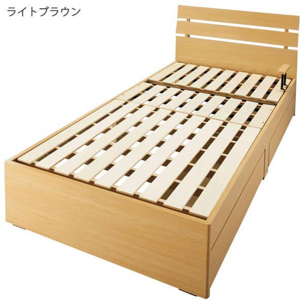 3段リクライニングすのこベッド収納付き手動ギア式スチールパイプ