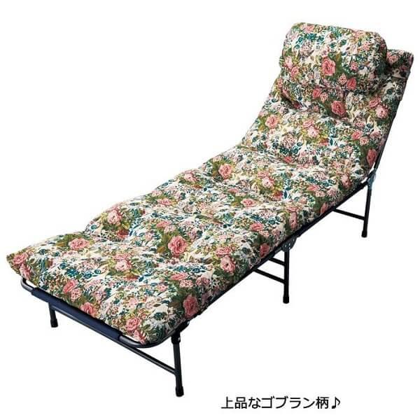 ふかふか 折りたたみベッド 【セミシングル ゴブラン】枕付き