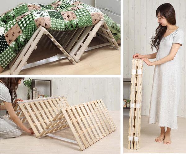 SunRuck すのこベッド 折りたたみ式 四つ折りタイプ
