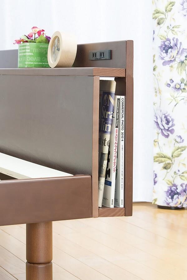 棚付き・コンセント付き 床板の高さ選べる!天然木すのこベッド